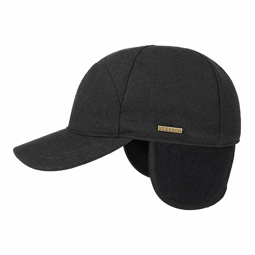 Stetson Baseball Cap Wool Ear Flaps Black