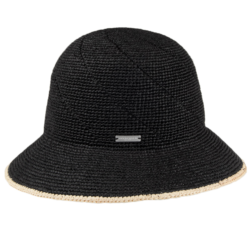 Seeberger Raffia Straw Cloche Black/Linen