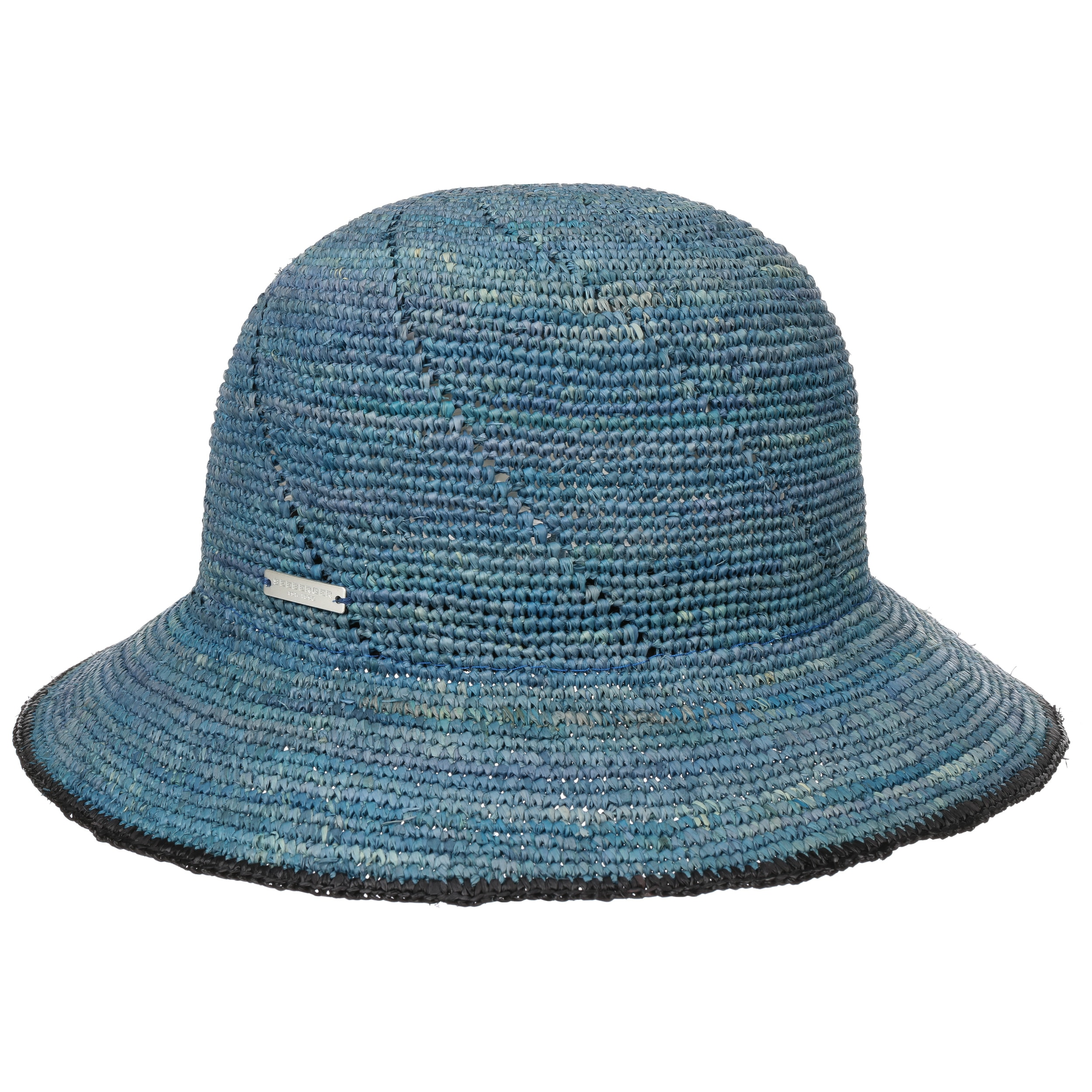 Seeberger Raffia Straw Cloche Aqua/Ink Blue