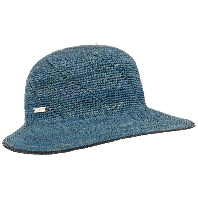 Seeberger Raffia Straw Cap Aqua/Linen