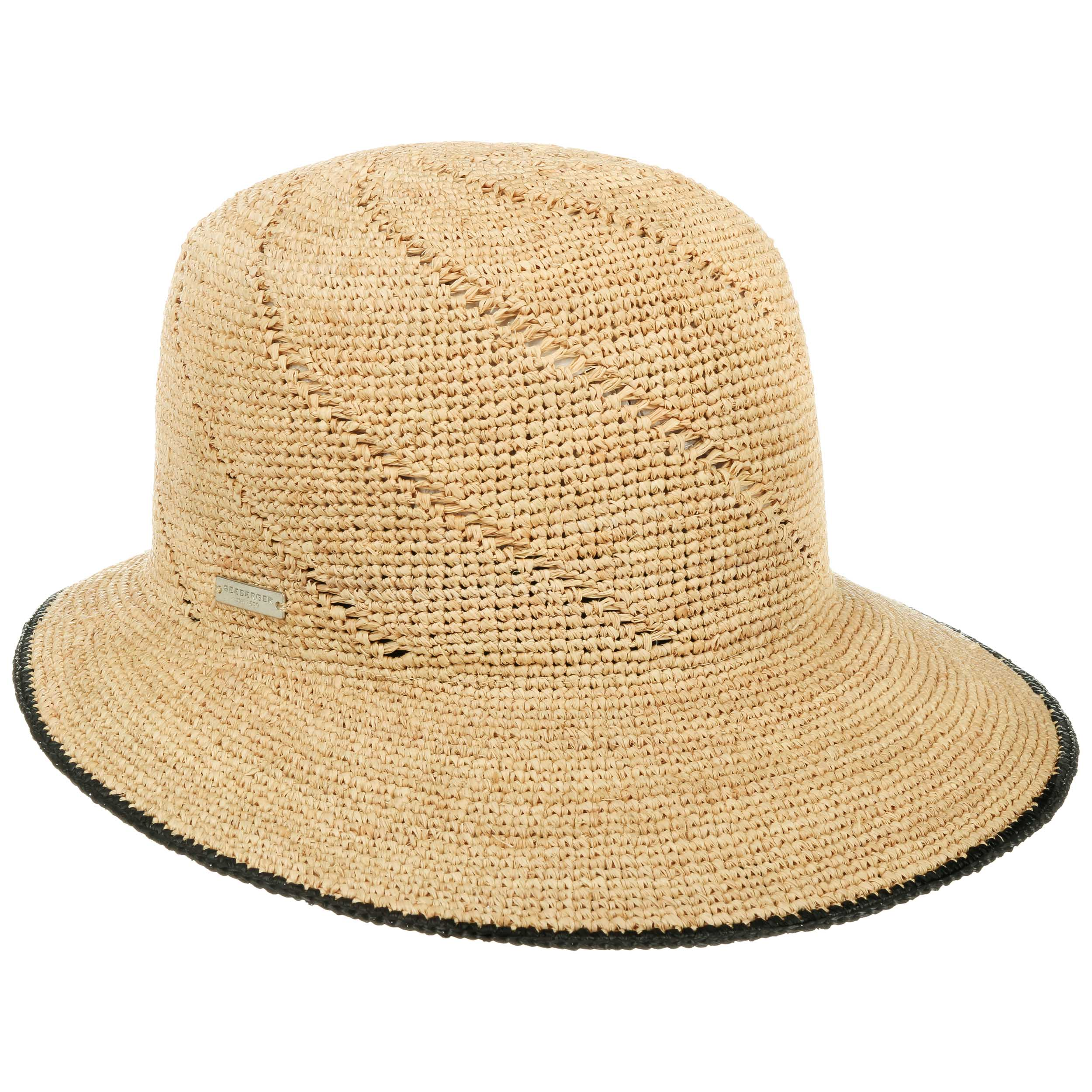 Seeberger Raffia Straw Cap Linen/Black