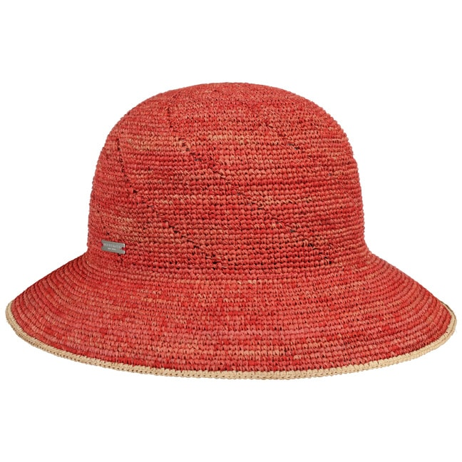 Seeberger Raffia Straw Cloche Papaya/Linen