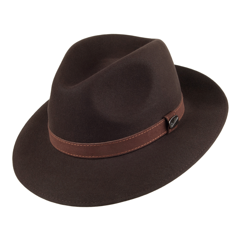 Borsalino Alessandria Fedora Hat Dark Brown