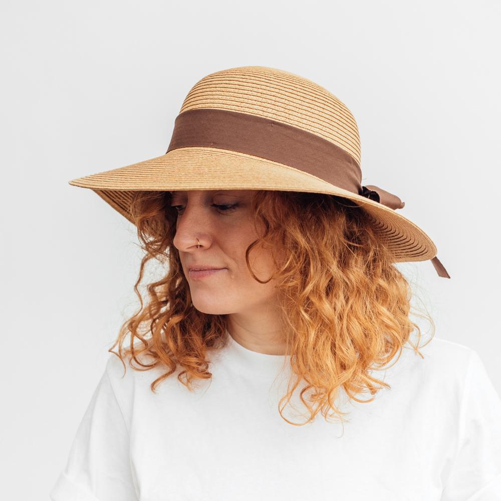 Amanda Christensen Womens Hat Straw Camel