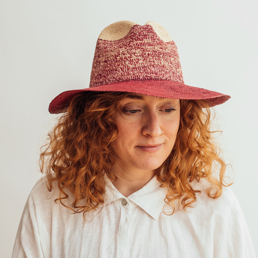 Ecua-Andino Panama Fedora Pink/Natural