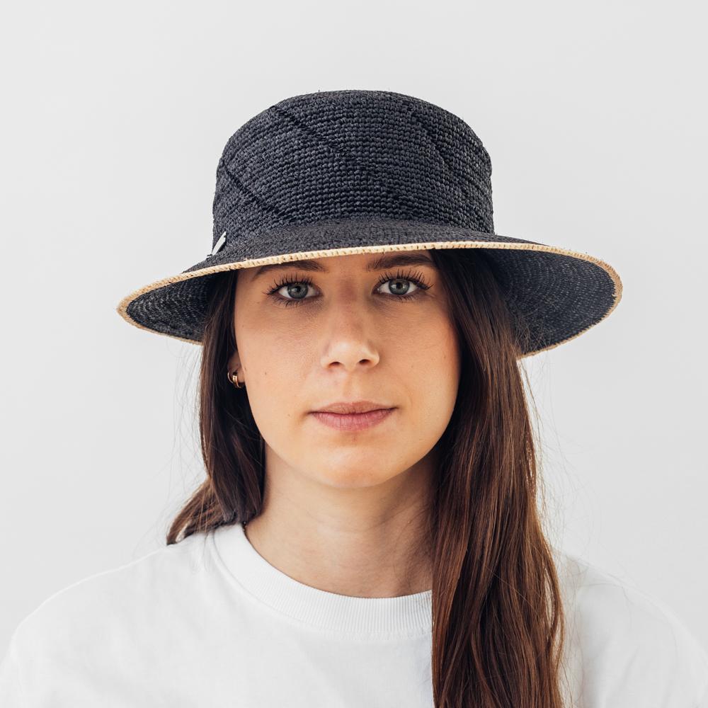 Seeberger Raffia Straw Cap Black/Linen