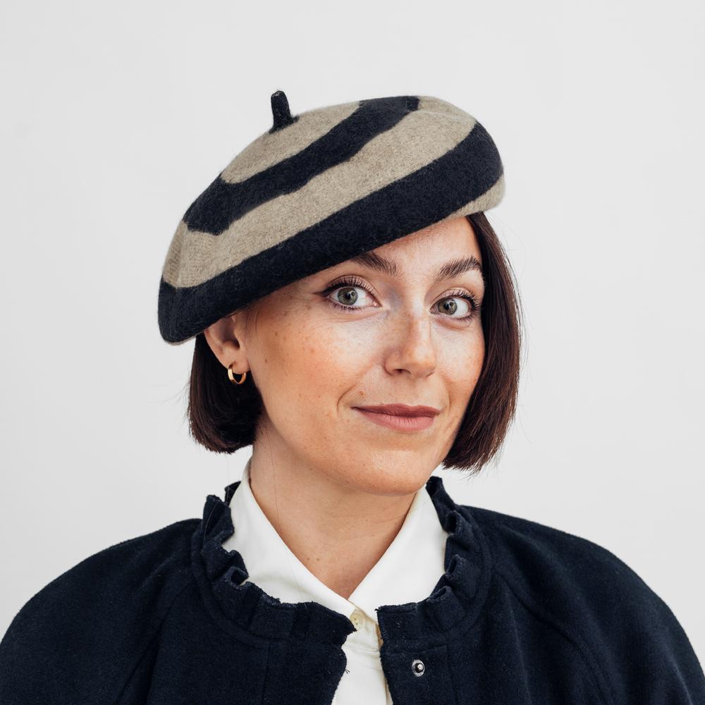 Brixton Audrey Beret Twig/Black Stripe