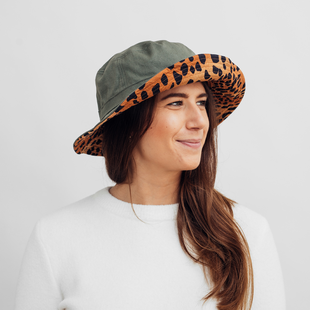 Brixton Petra Packable Bucket Hat Olive/Leopard