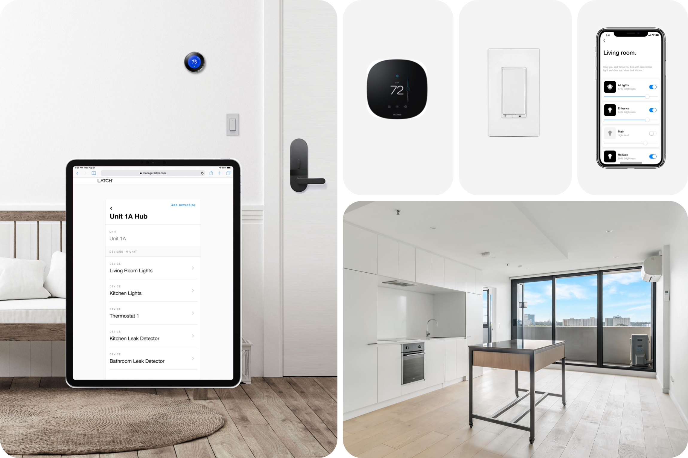 Smart home devices like Google Nest, ecobee, Jasco light switch, and air conditioning device are shown controlled by the Latch App and Latch Manager in an apartment