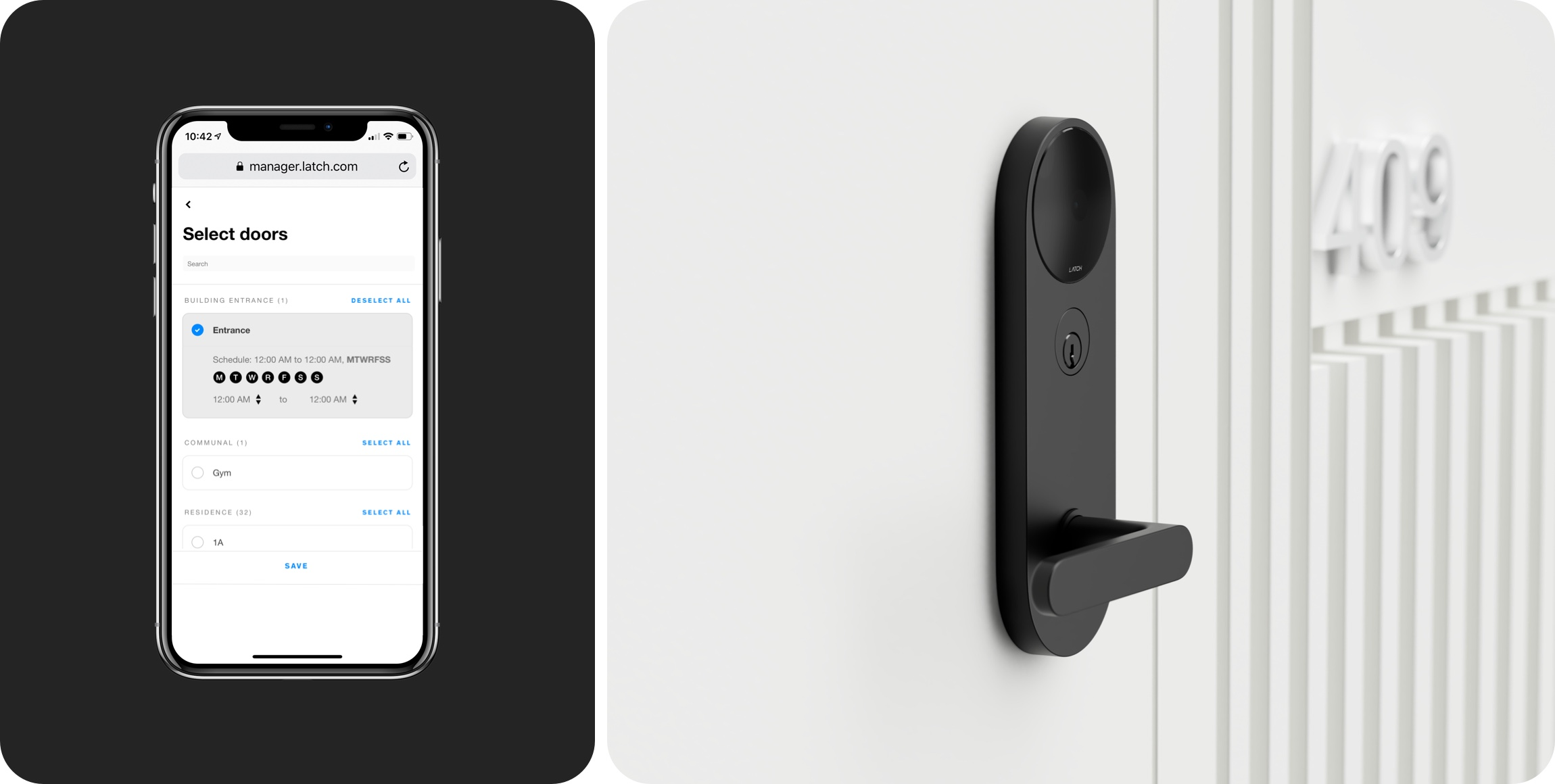 Property managers use Latch Manager to select doors during a resident lock out.