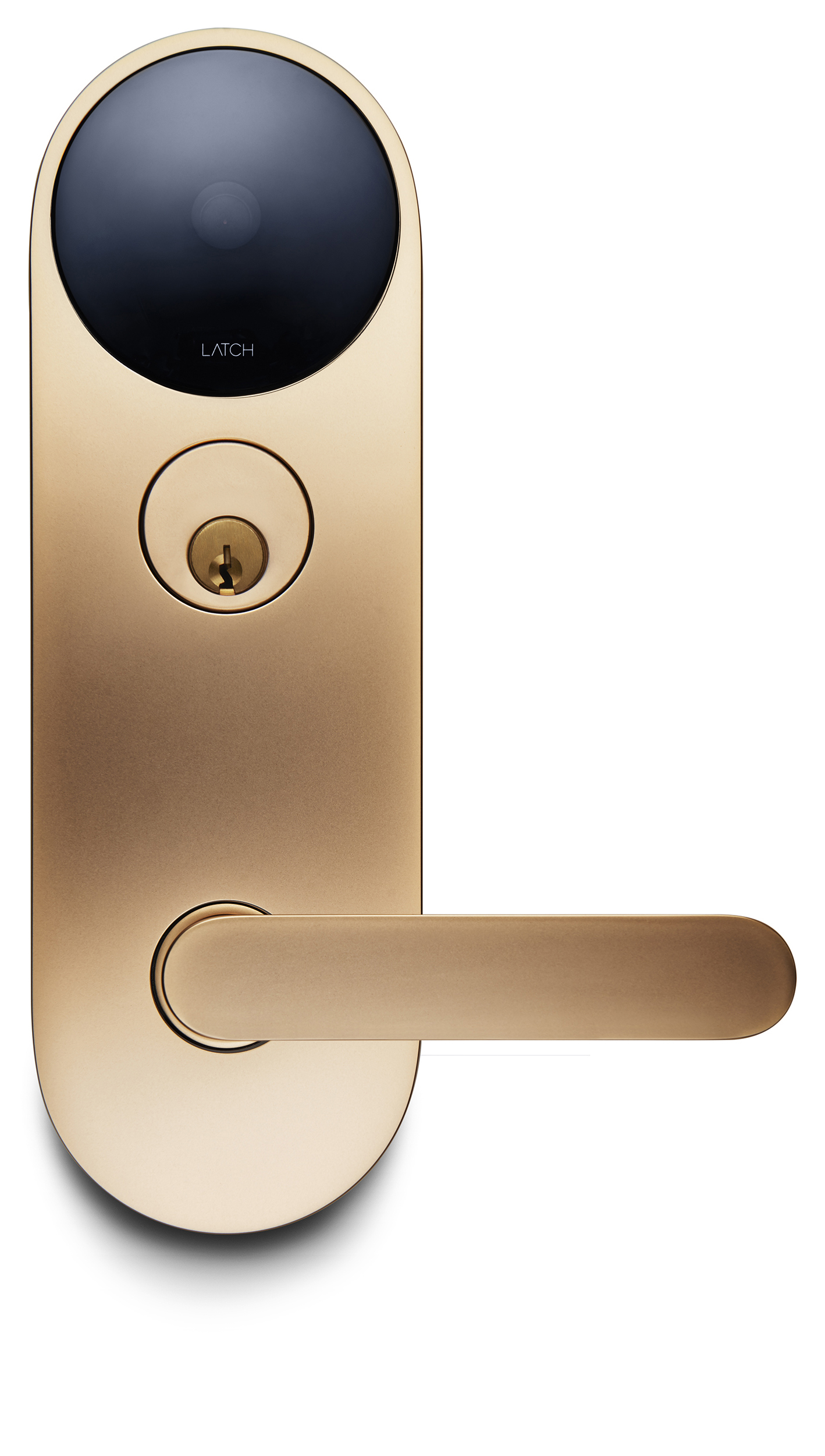 A gold Latch M mortise lock