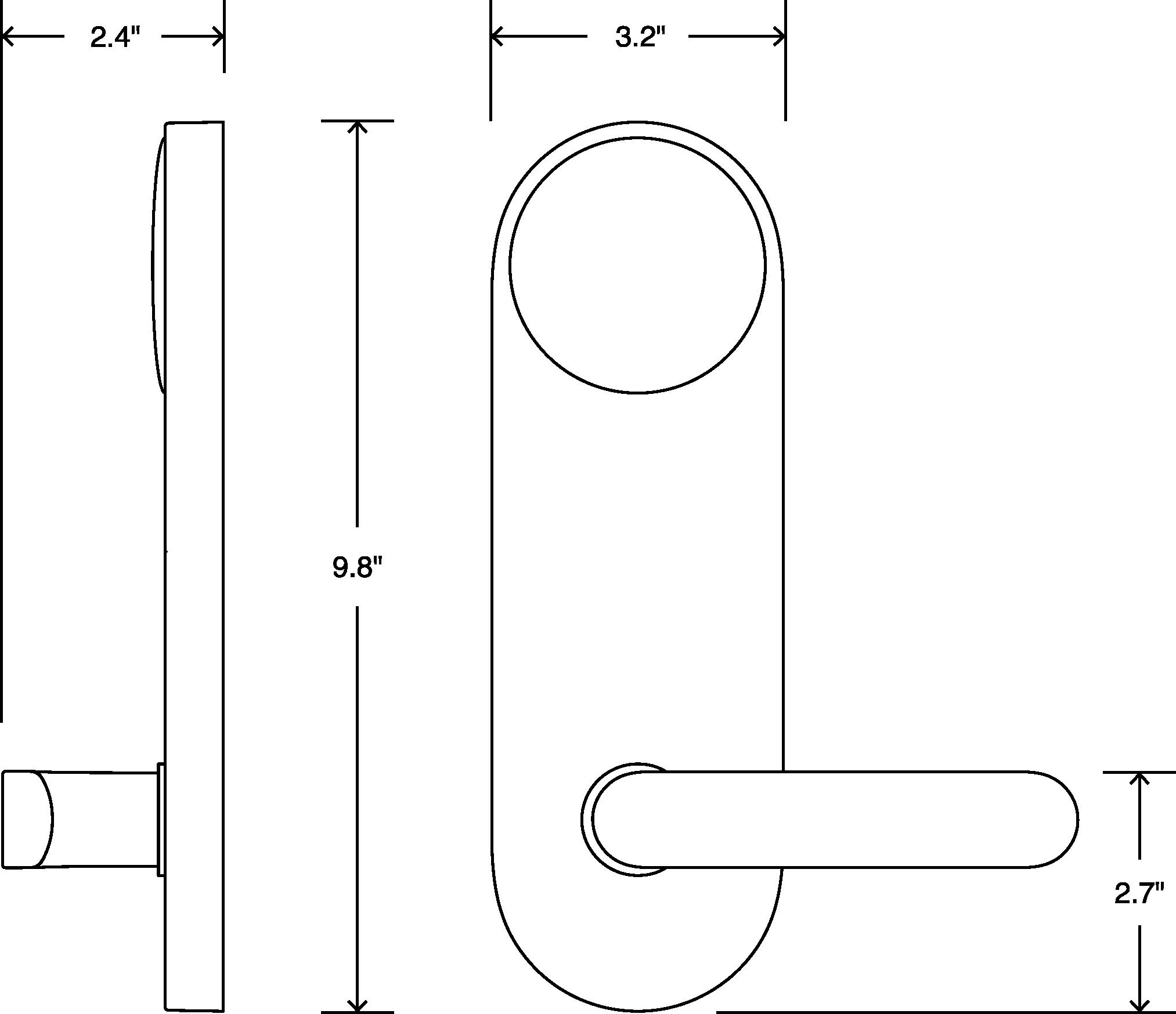Latch M hardware dimensions