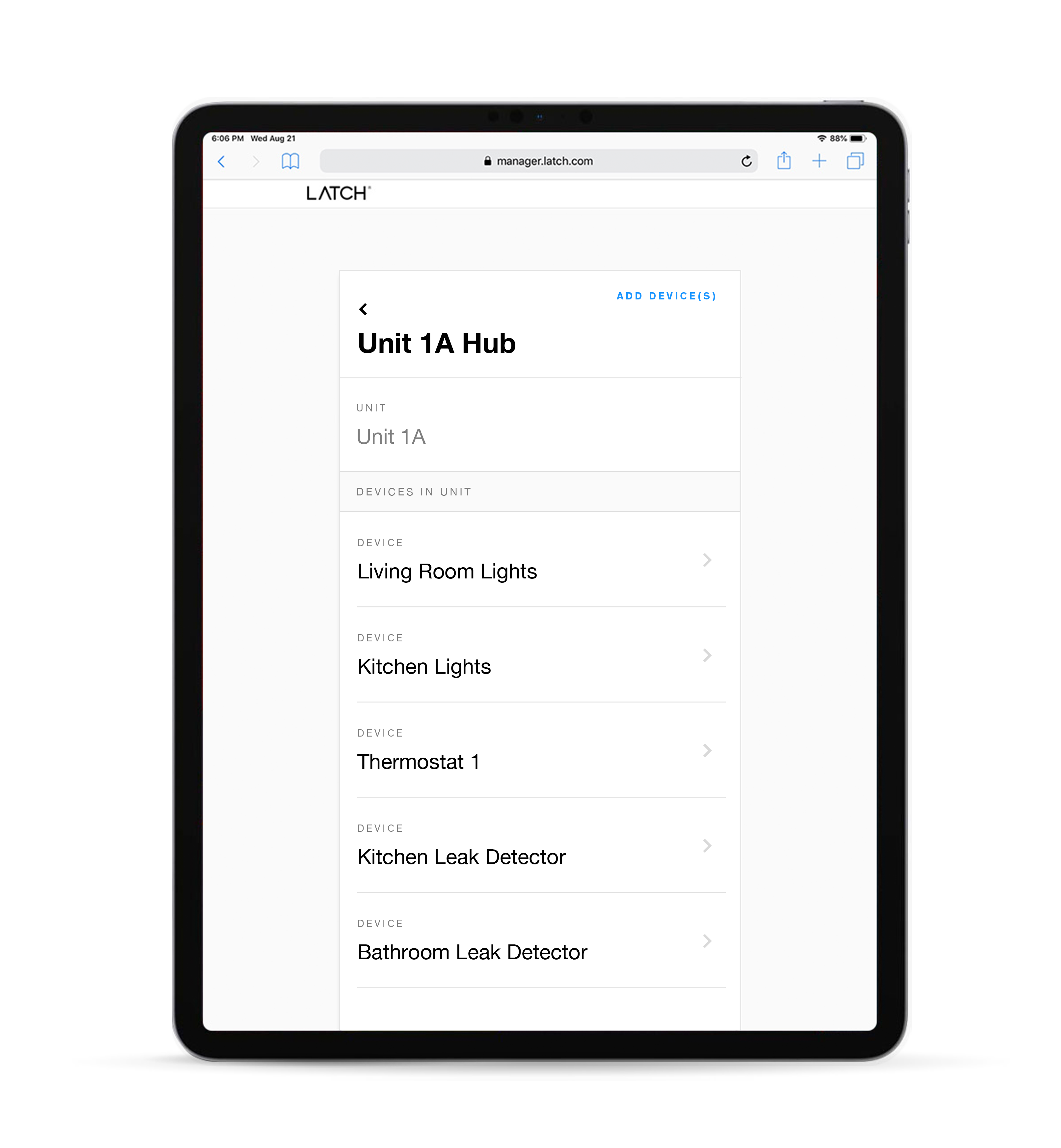 Latch Manager interface on an iPad that shows all devices (including smart home) that is connected to the Latch Hub