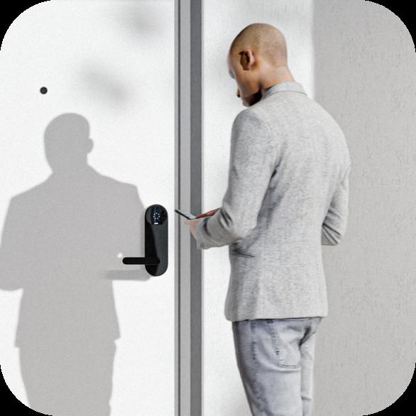 Man unlocking Latch M with Latch App