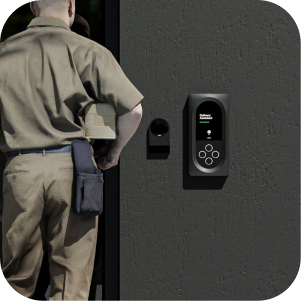 Delivery personnel speaking to Latch Delivery Assistant at apartment entry