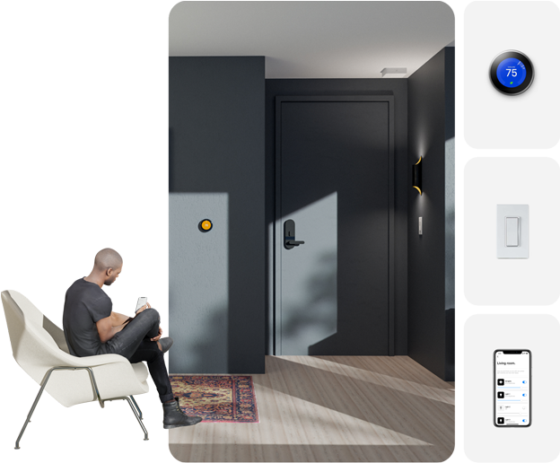 Collage showing the Latch smart home experience and Latch smart home partner devices for temperature and lighting control