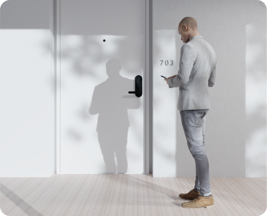 Man opening an apartment door with the Latch app