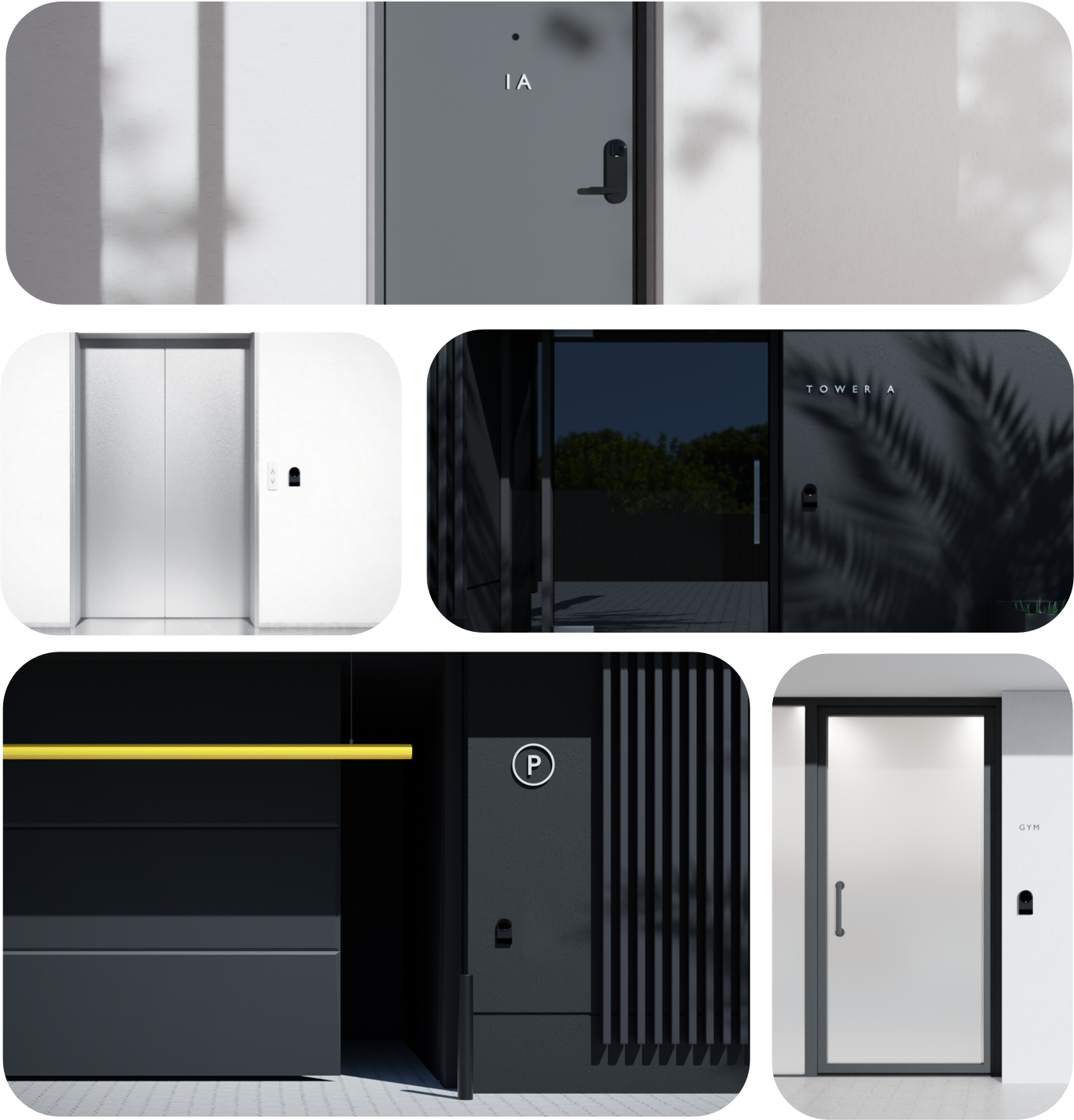 A collage of different types of doors like apartment entrances, unit doors, and garage spaces with Latch locks.