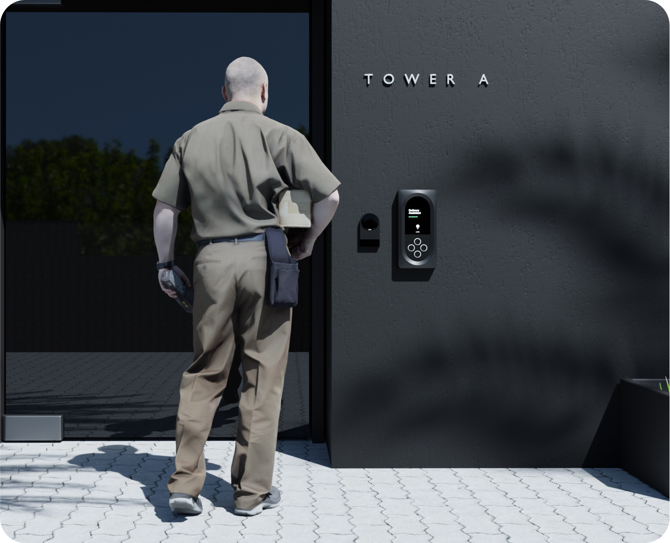 Delivery man speaking to the Latch Delivery Assistant via the Latch Intercom