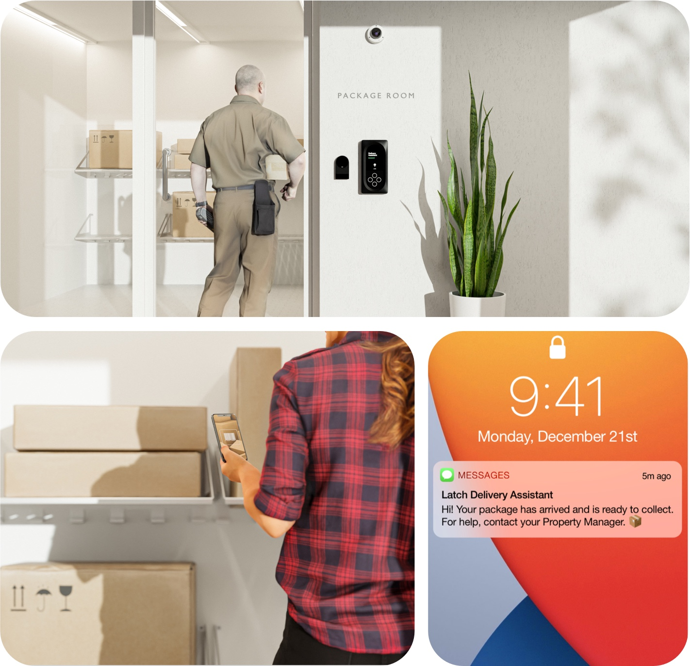 Collage showing a package room and a text message from the Latch Delivery Assistant informing people of the arrival of their packages