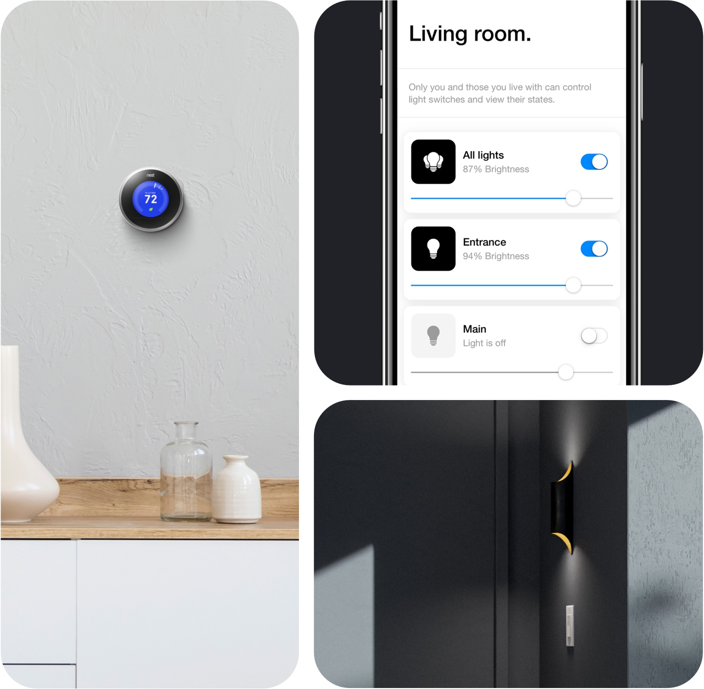 A collage showing a smart light, Google Nest, and smart home control via Latch App.