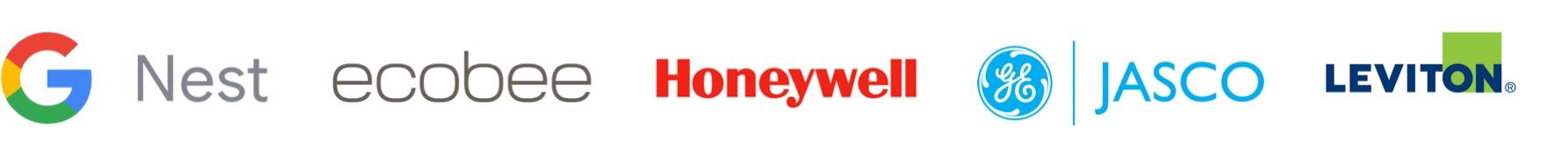 Logos of smart home partners: Google Nest, ecobee, Honeywell, Jasco, and Leviton.