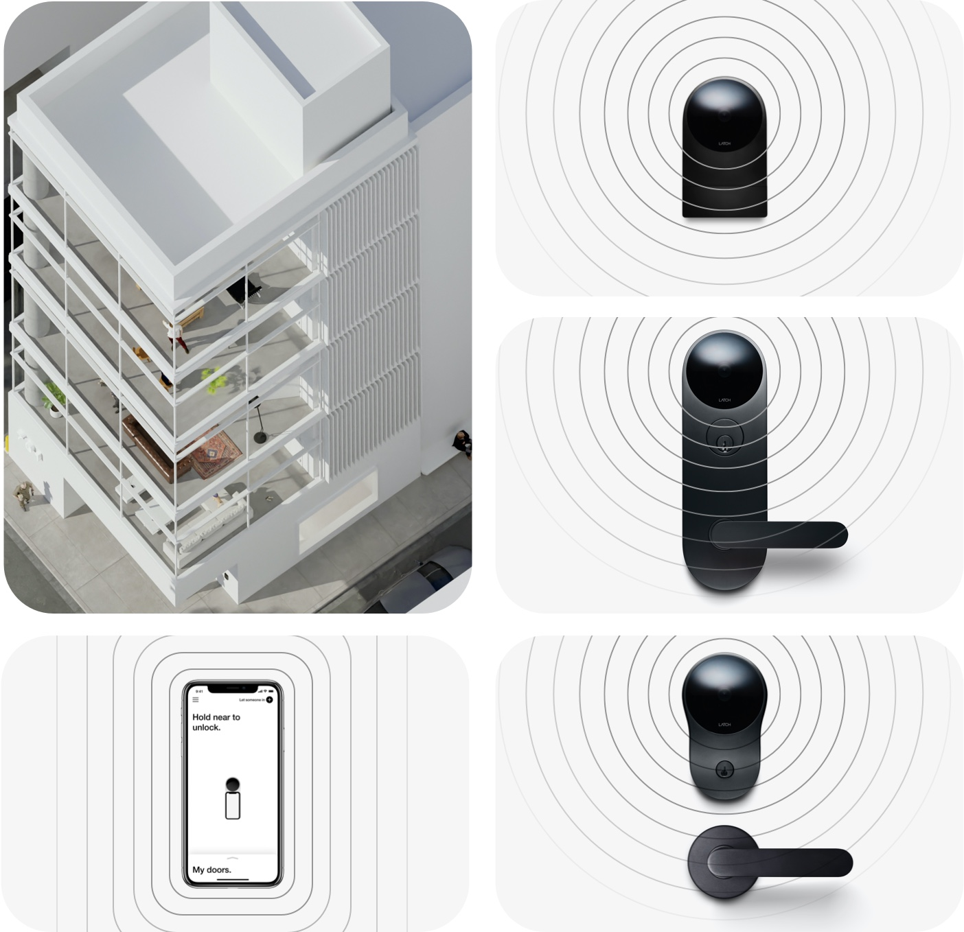 Collage showing aerial view of a Latch apartment and Latch R, Latch M, Latch C, and Latch app.