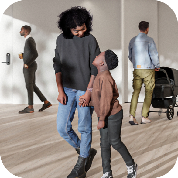 Mother and son family walking in apartment lobby