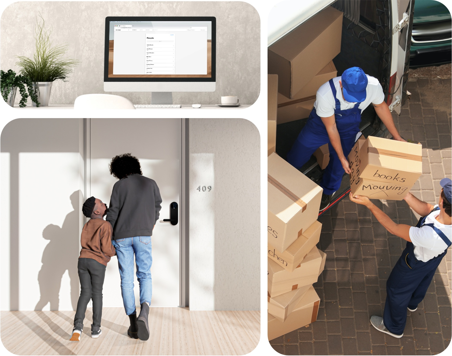 Collage showing Latch Manager page on computer, deliver people moving boxes, and a mother and son standing in front of their apartment door.