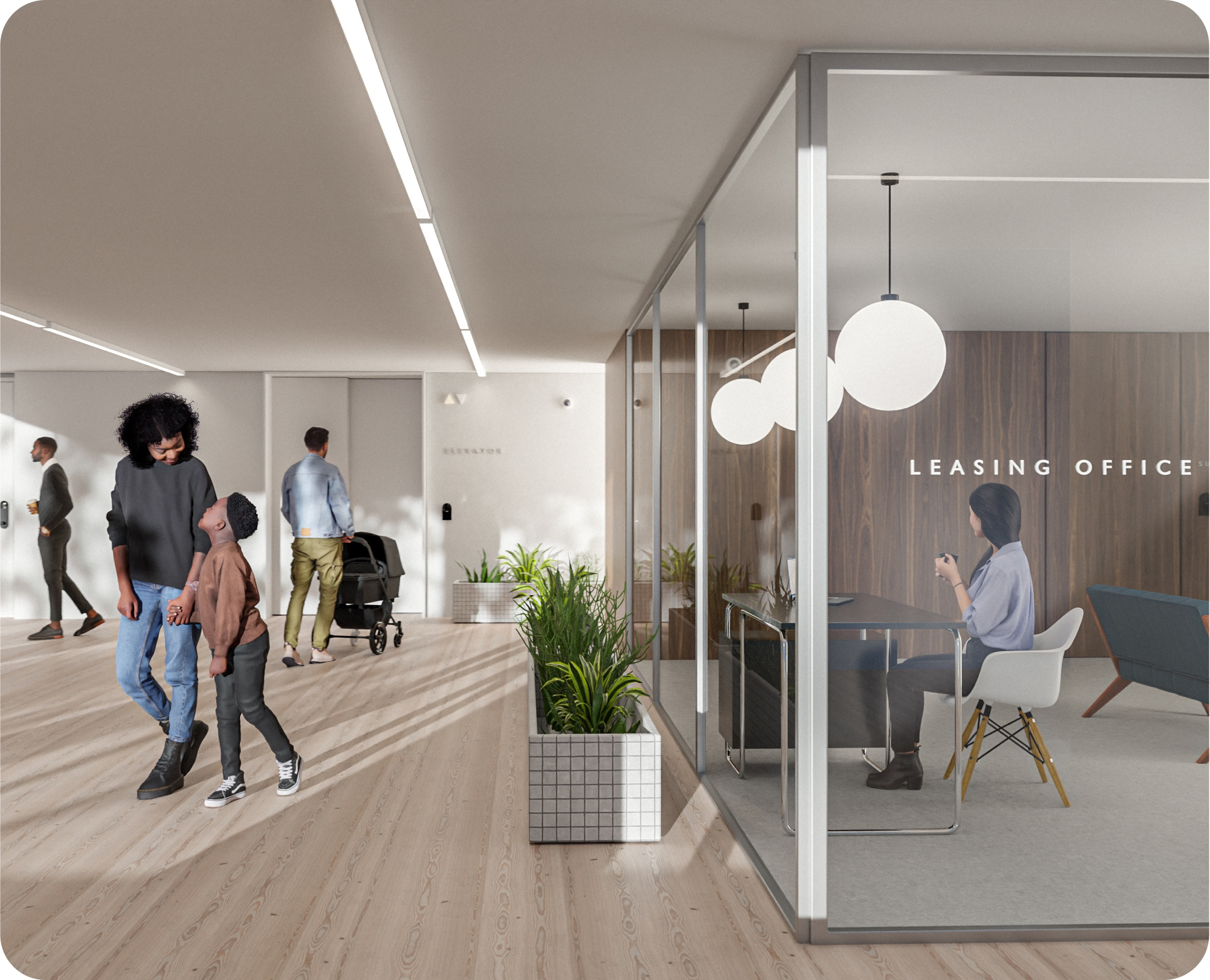Residential building lobby showing current residents walking with their family and prospective residents in the building's leasing office
