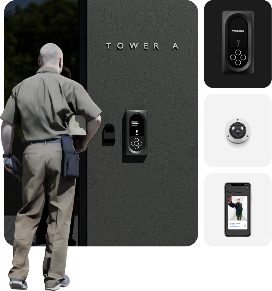 Collage showing Latch Intercom, Latch Camera, and the Latch Delivery Assistant experience for  guest and delivery management