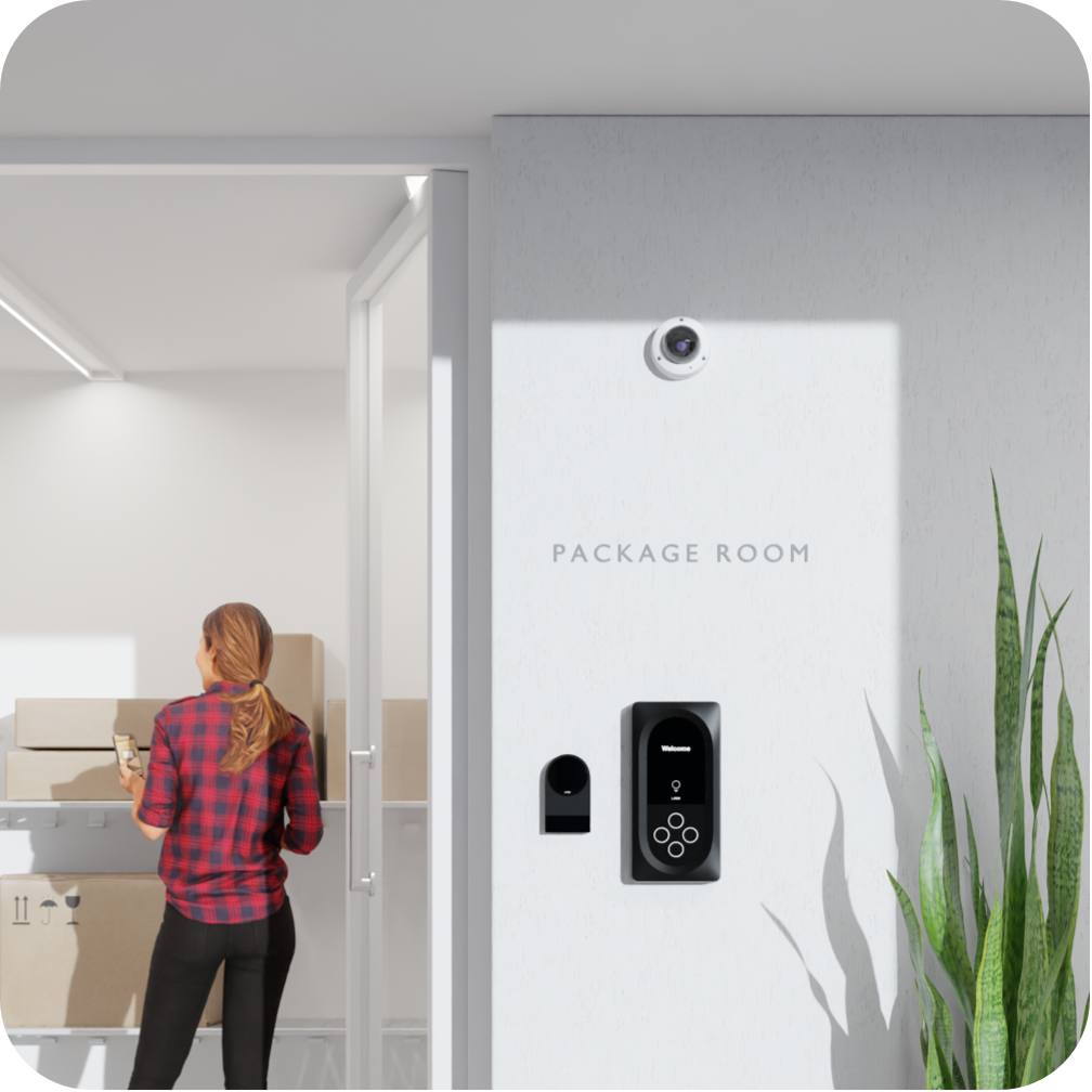 Package room with Latch R, Latch Intercom, and Latch Camera at the front