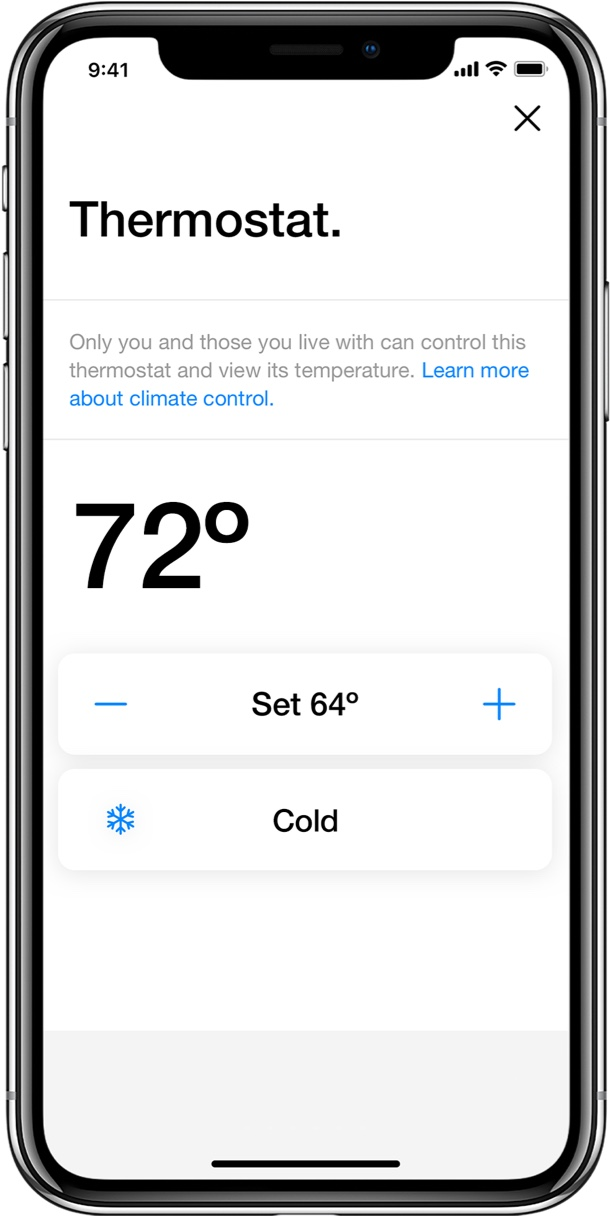 Latch App screen allowing user to change temperature on smart thermostat