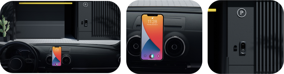 An iPhone with Siri activated inside a car facing a Latch Intercom for garage entry.