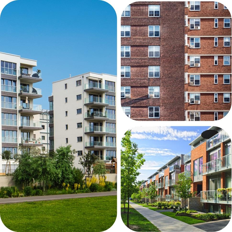 Collage showing brick walkup buildings, retrofit residential buildings