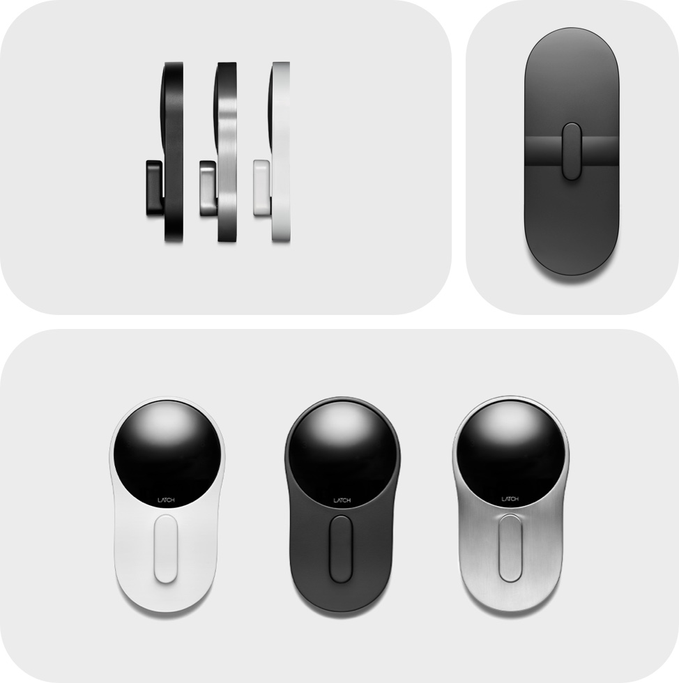 Collage showing Latch C2 hardware finishes