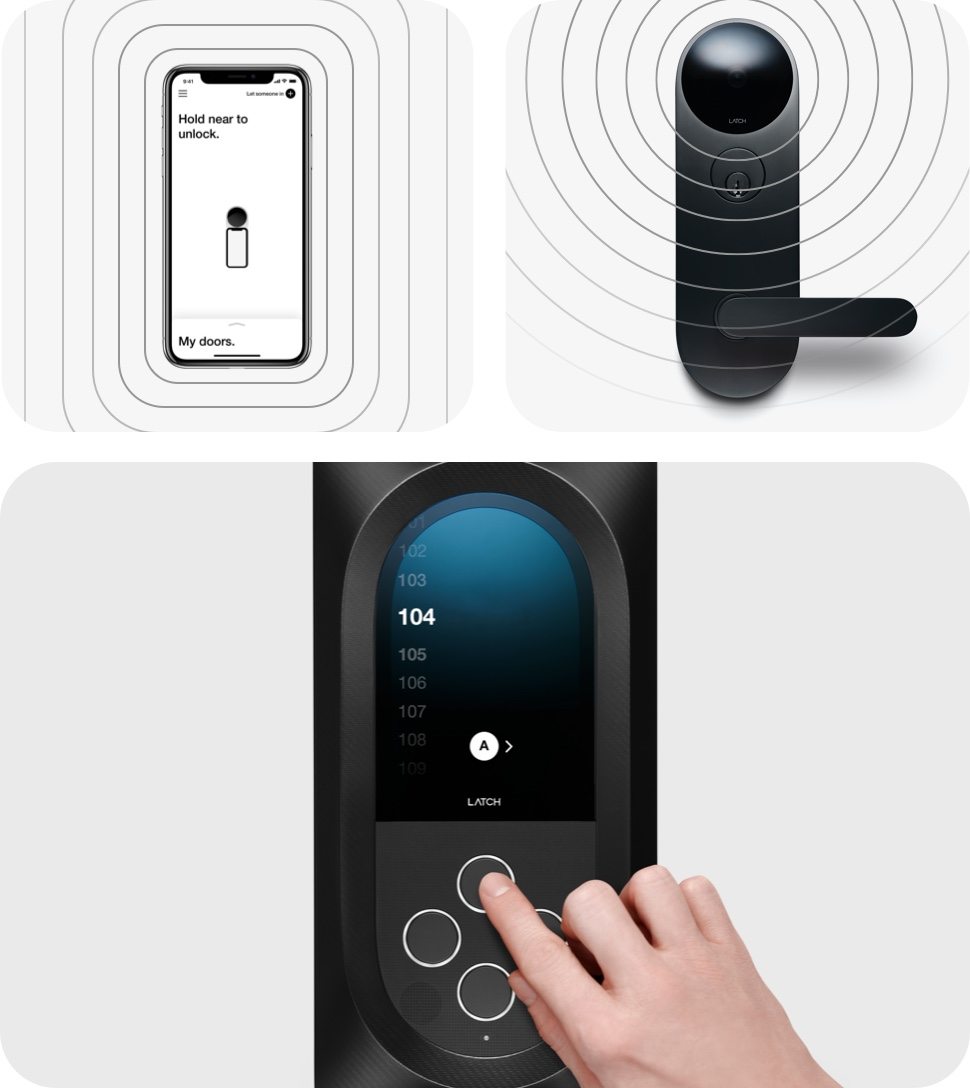Collage showing Latch App, Latch M, and unit scrolling on Latch Intercom