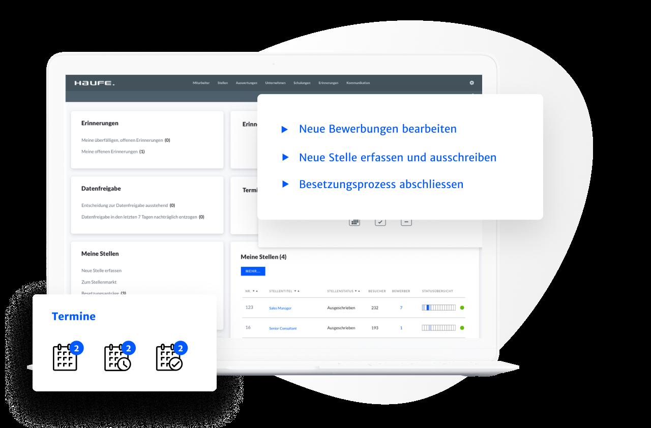 Die Bewerbermanagement Software ermöglicht ein individuelles Dashboard