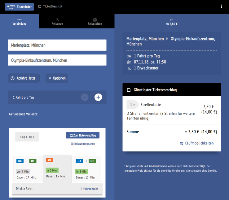 Die getestete Version der responsiven Web-App »MVG Ticketfinder«