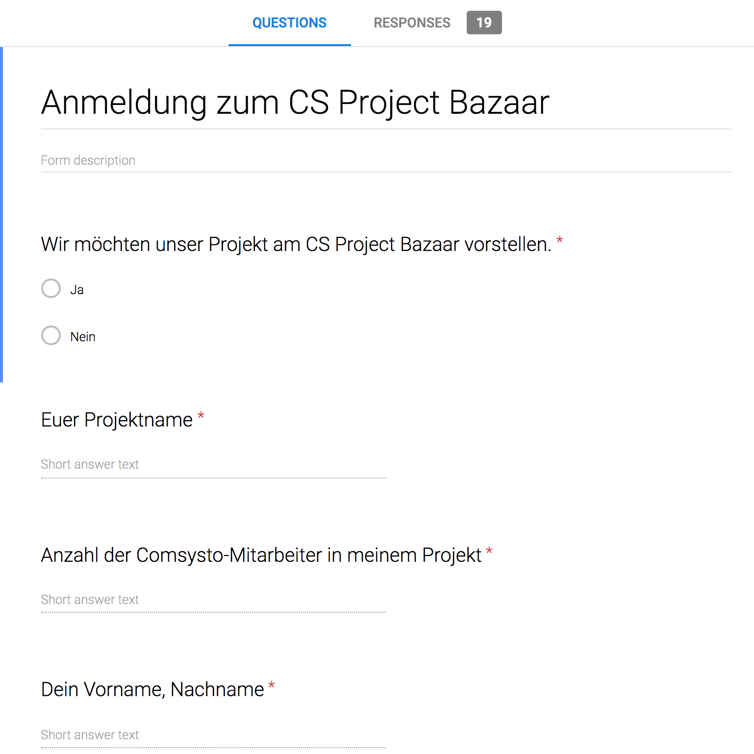Project Bazaar registration form