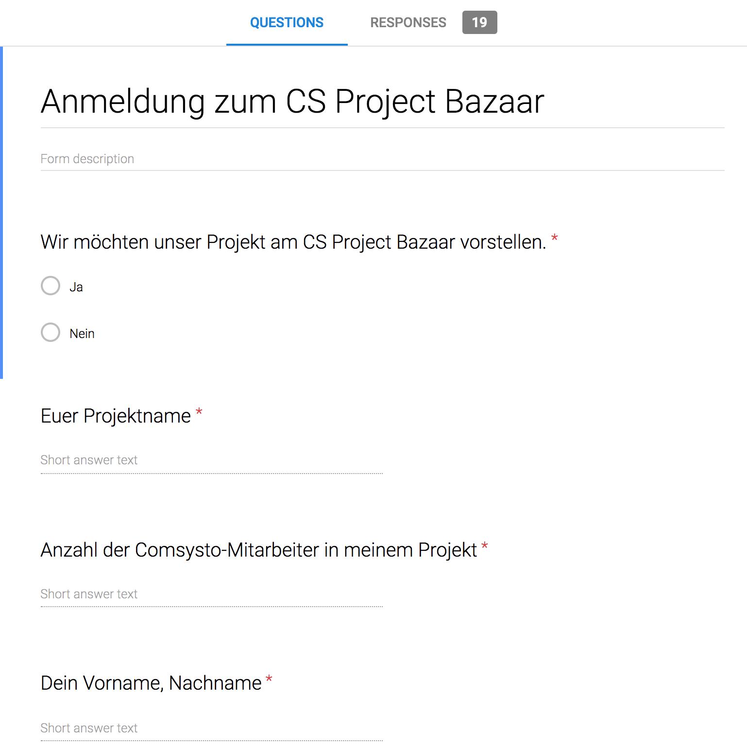 Project Bazaar registration form