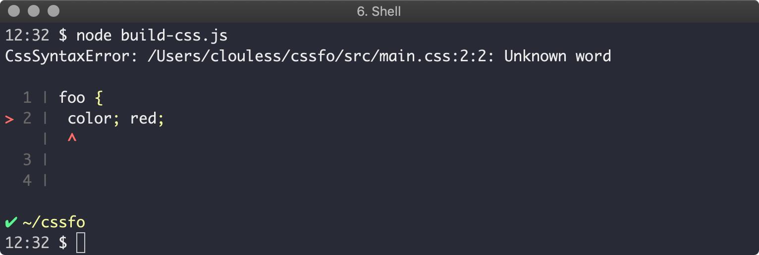Postcss build fail output