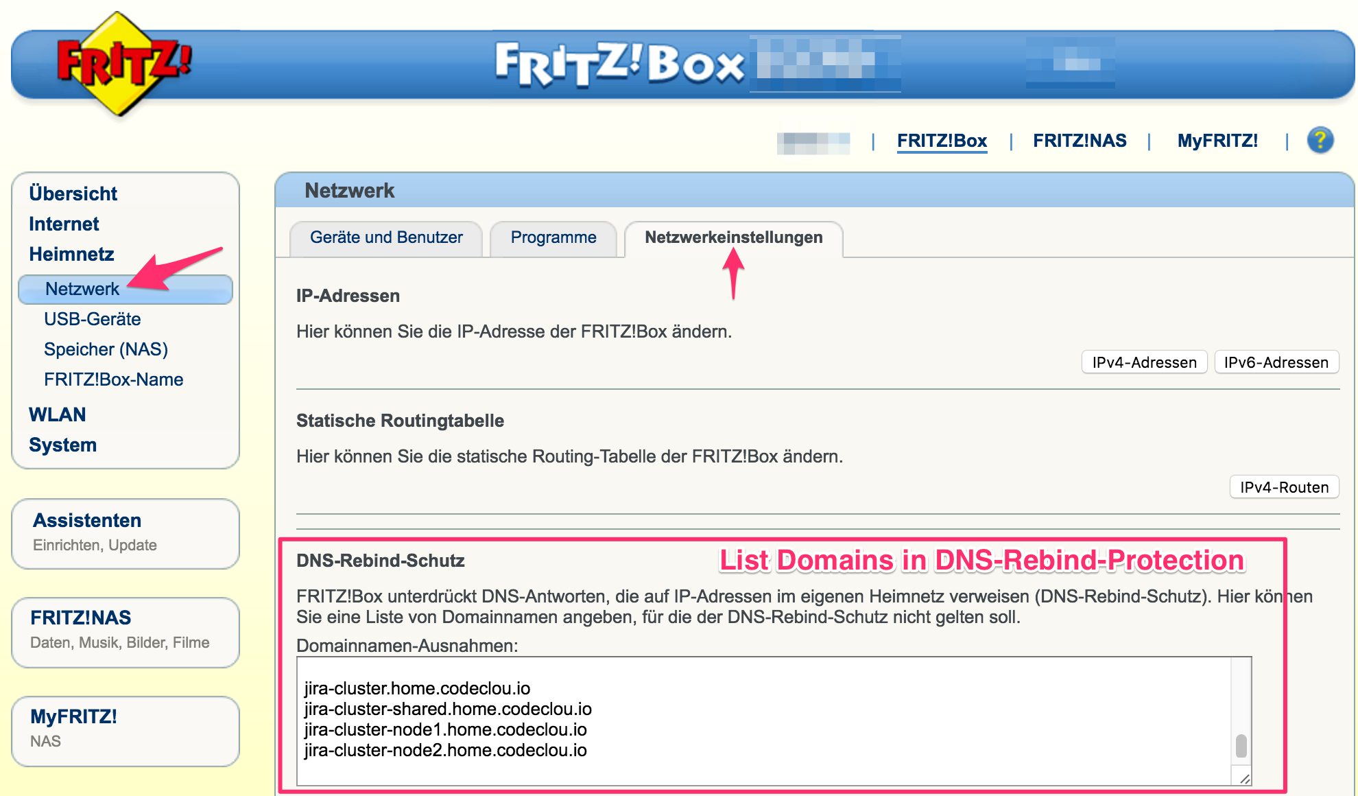 FRITZ!Box DNS Rebind Protection