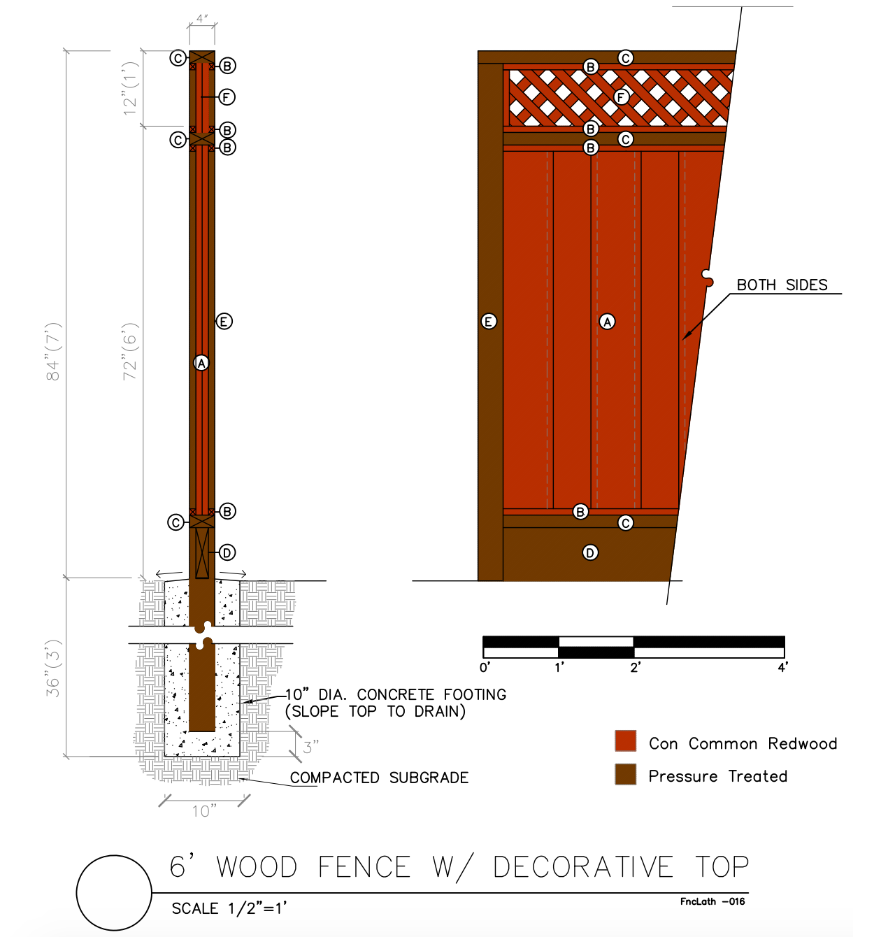 6' Wood fence with decorative top