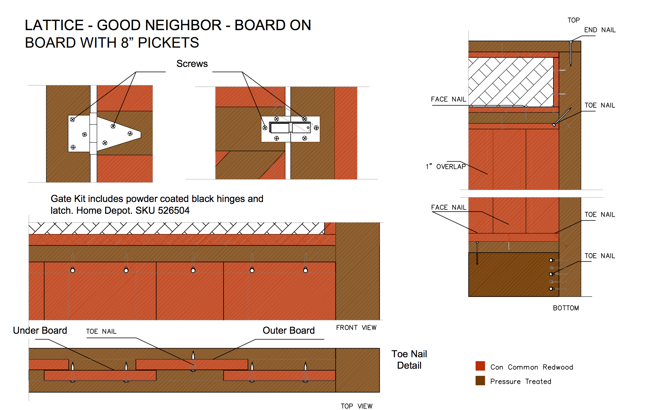 "Lattice - good neighbour - board on board with 8"" pickets"