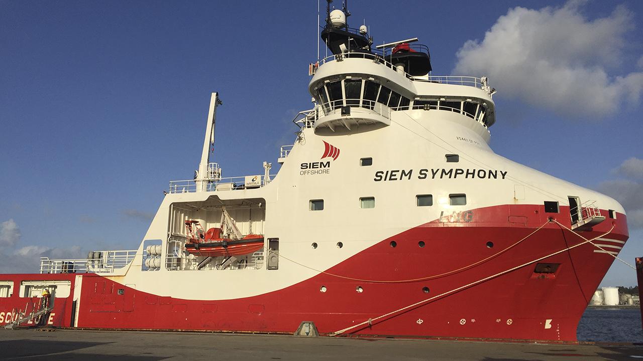 Forsyningsskipet Siem Symphony er et av skipene som fremover skal få installert batterikontainer hos Westcon