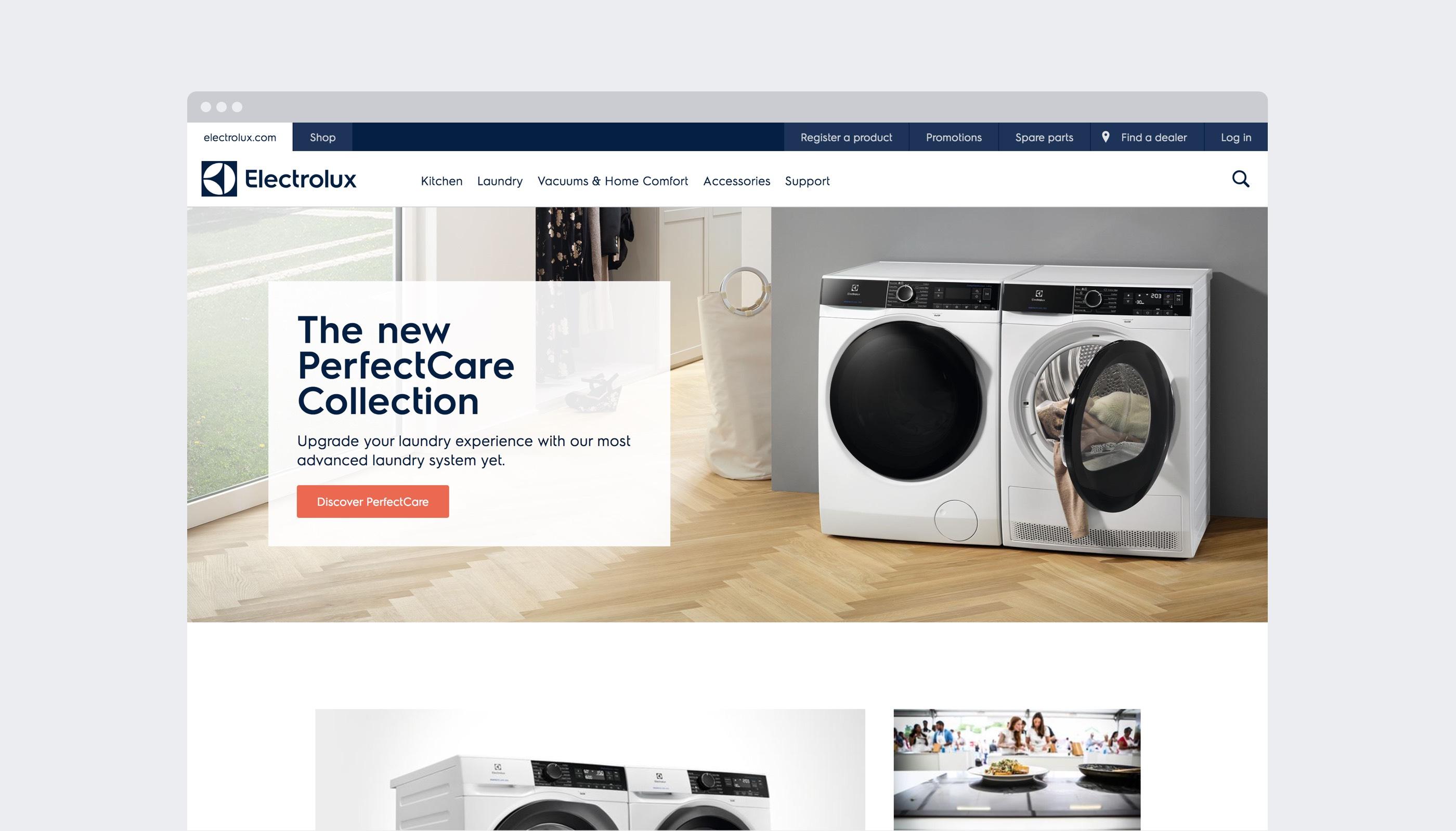 En kategorisida från electrolux.com