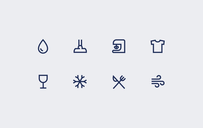 En samling symboler som kan kopplas till Electrolux produkter.
