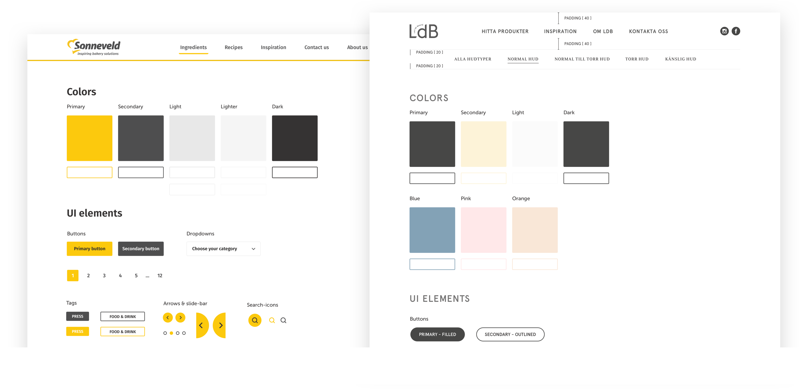 The color schemes used for Sonneveld and Ldb on the One Orkla Web Platform