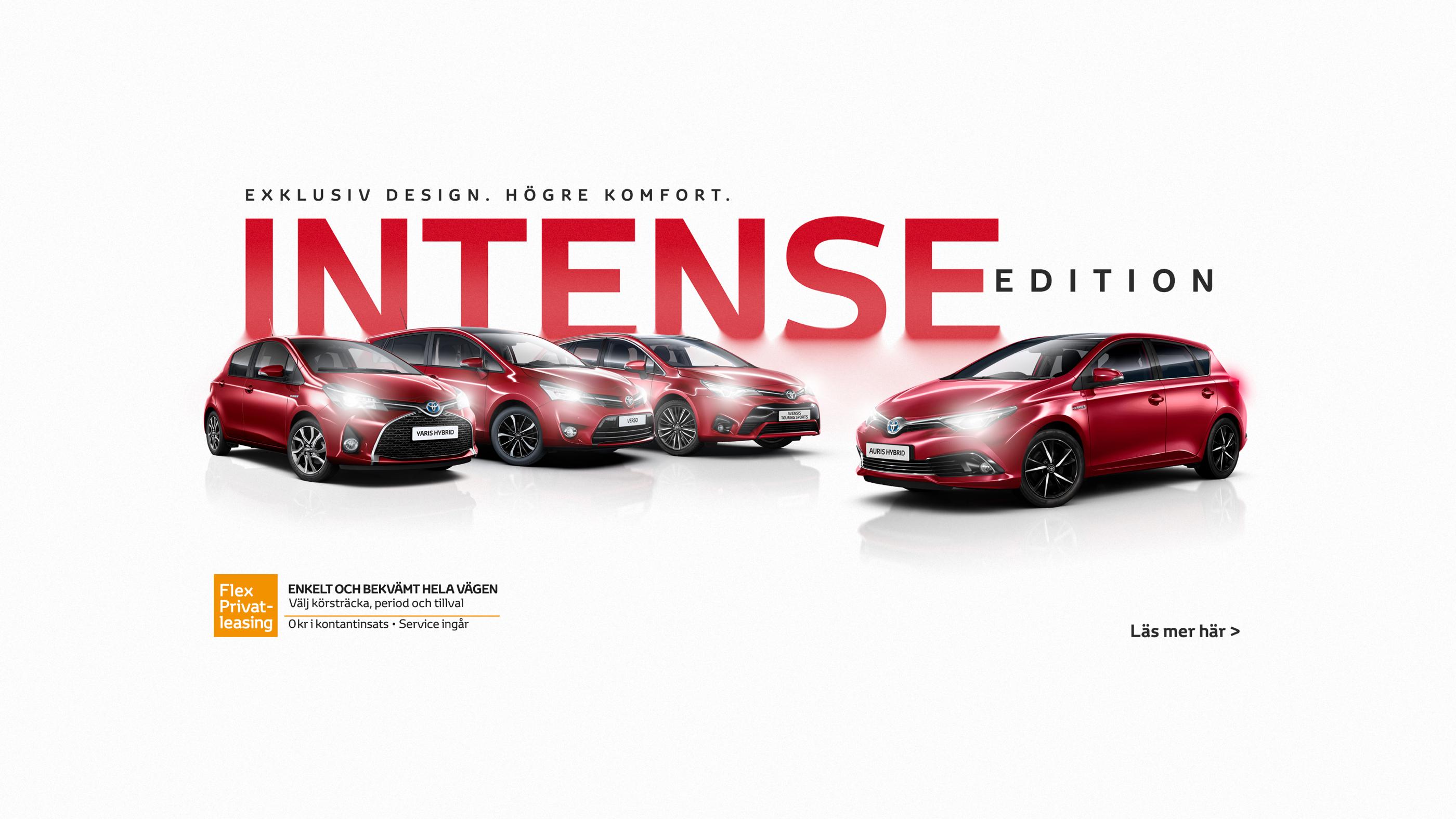 Toyota Intense Edition. Fyra röda bilar på rad. Marknadsföringsmaterial online.